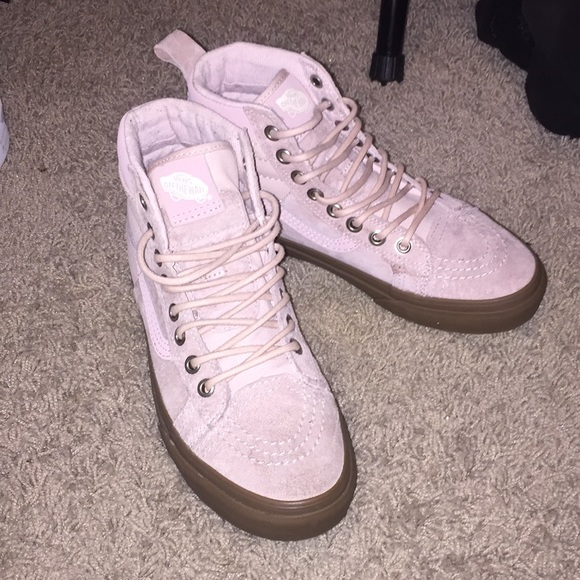 eb59495a15 pink and white high top vans Sale